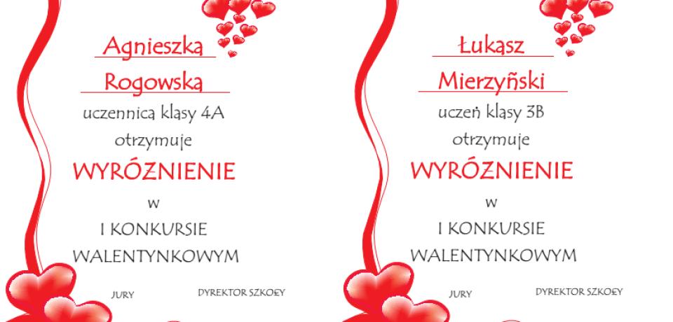 I Szkolny Konkurs Poezji Walentynkowej