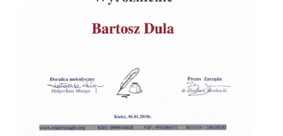 Wyróżnienie w konkursie eseistycznym dla Bartosza Duli