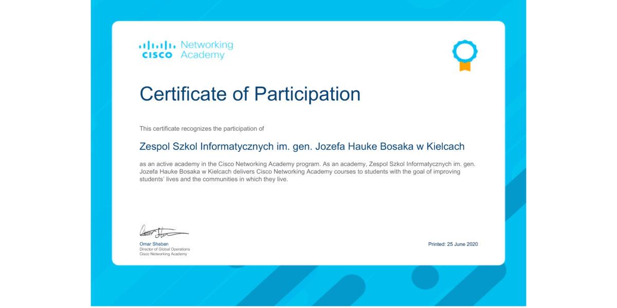 Certyfikat dla Akademii Cisco